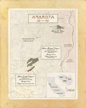 Map of Knights Valley Sonoma County and Anakota estate locations